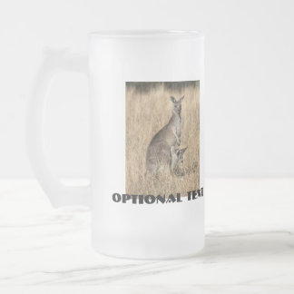 Kangaroo with Baby Joey in Pouch Frosted Glass Beer Mug