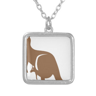 Kangaroo with baby silver plated necklace