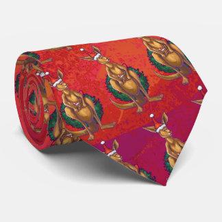 Kangaroo Xmas On Red Tie