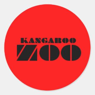Kangaroo Zoo Label Sticker Red
