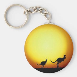 KangaROOS en el australiano interior Llavero Redondo Tipo Pin