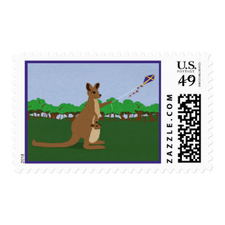 Kangaroos Flying a Kite Postage