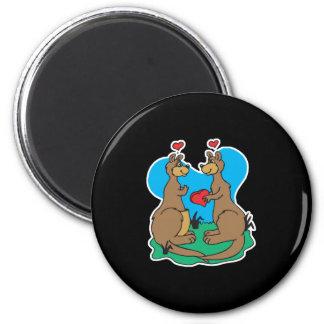 kangaroos in love refrigerator magnet