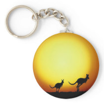 Kangaroos in the Australian Outback Keychain