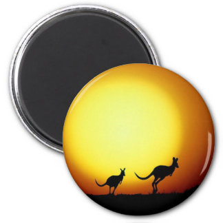 Kangaroos in the Australian Outback 2 Inch Round Magnet