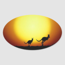 Kangaroos in the Australian Outback Oval Sticker