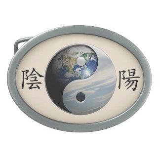Kanji con la tierra y el cielo Yin Yang Hebillas De Cinturon Ovales