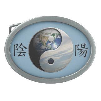 Kanji con la tierra y el cielo Yin Yang Hebillas De Cinturón Ovales