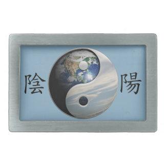 Kanji con la tierra y el cielo Yin Yang Hebilla Cinturón Rectangular