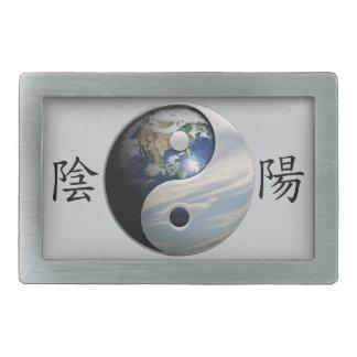Kanji con la tierra y el cielo Yin Yang Hebilla Cinturon Rectangular