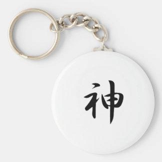 Kanji de dios llavero redondo tipo pin