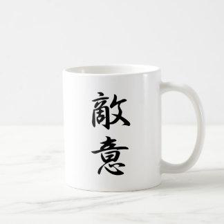 Kanji de la animosidad taza básica blanca