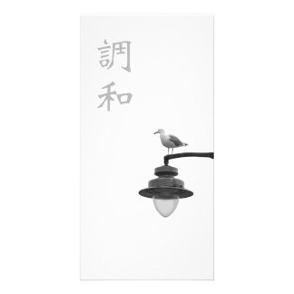 Kanji de la armonía y photocard de la gaviota tarjeta con foto personalizada