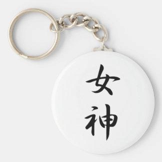 Kanji de la diosa llavero redondo tipo pin