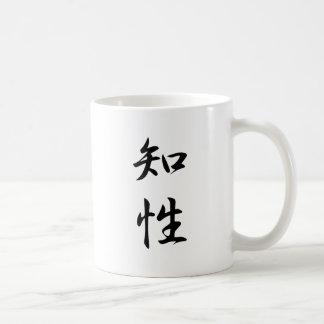 Kanji de la inteligencia taza básica blanca