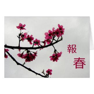 Kanji de los saludos/de las flores de cerezo de la tarjeta