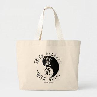 Kanji de Yin Yang Reiki Bolsa Tela Grande