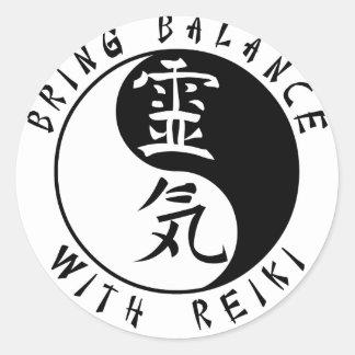 Kanji de Yin Yang Reiki Pegatina Redonda