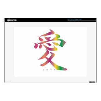 Kanji del amor del arco iris calcomanías para portátiles