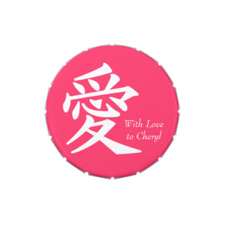 Kanji del amor en blanco latas de dulces