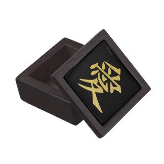 Kanji del amor (negro y oro) caja de joyas de calidad