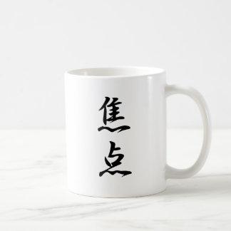 Kanji del foco taza básica blanca