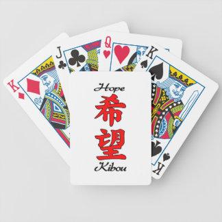 Kanji del japonés de la esperanza barajas de cartas