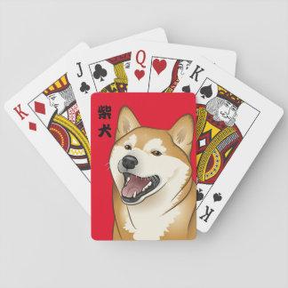 kanji del japonés de los naipes del perro de Shiba