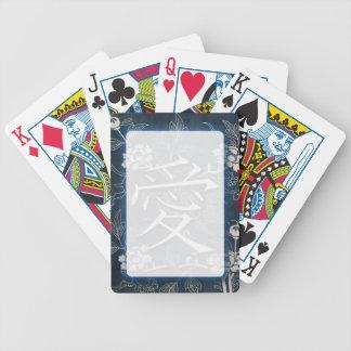 Kanji del japonés del amor cartas de juego
