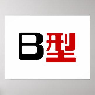 Kanji del japonés del grupo sanguíneo B Póster