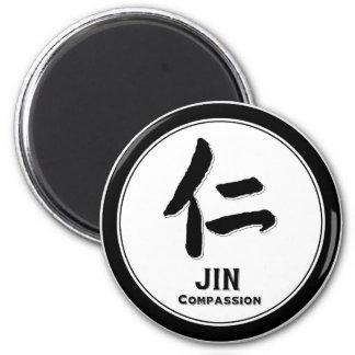 Kanji del samurai de la virtud del bushido de la c imán redondo 5 cm