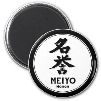 Kanji del samurai de la virtud del bushido del hon imán redondo 5 cm