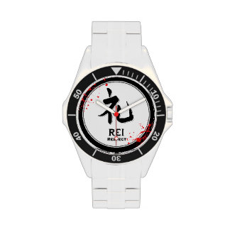 Kanji del samurai de la virtud del bushido del res reloj de mano