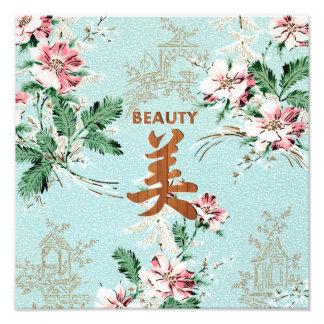 Kanji femenino azul de la belleza de la impresión  cojinete