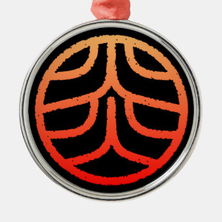 "kanji "" flame "" metal ornament"
