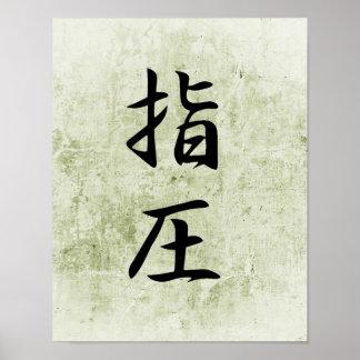 Kanji japonés para Accupressure - Shiatsu Póster