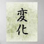 Kanji japonés para el cambio - Henka Posters