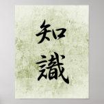 Kanji japonés para el conocimiento - Chishiki Poster