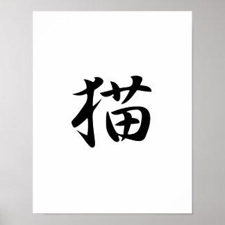 Kanji japonés para el gato - Neko Posters