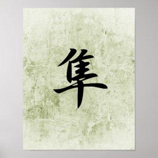 Kanji japonés para el halcón - Hayabusa Impresiones