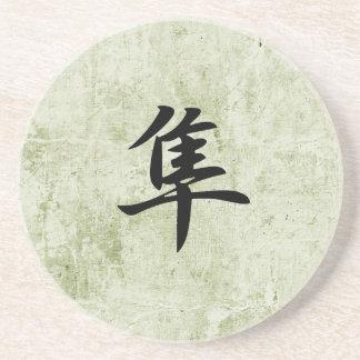 Kanji japonés para el halcón - Hayabusa Posavasos Manualidades
