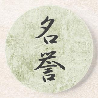 Kanji japonés para el honor - Meiyo Posavasos Personalizados