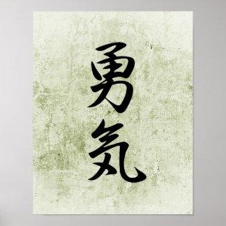 Kanji japonés para el valor - Yuuki Póster