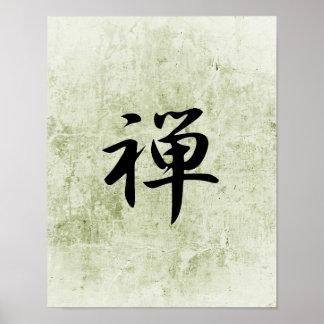 Kanji japonés para el zen - zen poster