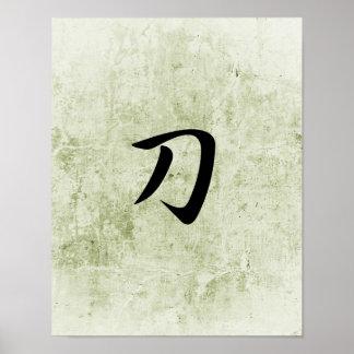 Kanji japonés para Katana - Katana Poster