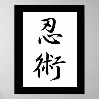 Kanji japonés para la cautela - Ninjutsu Poster