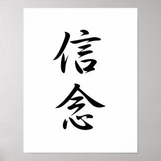 Kanji japonés para la creencia - Shinnen Poster
