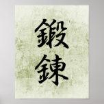 Kanji japonés para la disciplina - Tanren Poster