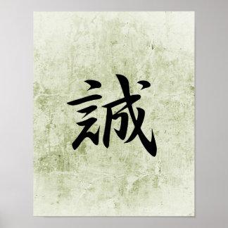 Kanji japonés para la verdad - Makato Poster