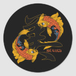 Kanji Koi Fish Beauty Classic Round Sticker